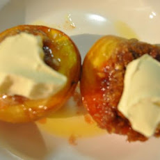 Roasted Macadamia Filled Peaches With Mascarpone