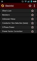 Screenshot of Electrist Electronics Calc