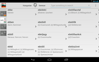 Screenshot of Dictionary German Hungarian