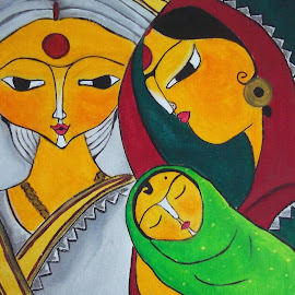 three generations by Neerajana Datta - Painting All Painting
