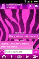 Screenshot of GO SMS Pro Theme Pink Zebra