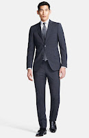 Z Zegna Extra Trim Fit Grey Slub Check Wool Suit