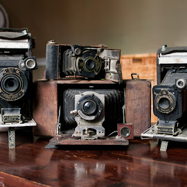 Four Old Timers by Alan Roseman - Artistic Objects Antiques ( old camera, bellows, lenses, days gone by, camera, kodak, vest pocket, antique,  )