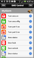 Screenshot of MyAlarm SMS Control