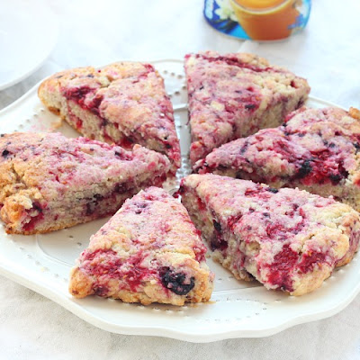Black And Red Raspberry Vanilla Scones