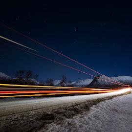 Trailer lighttrails by Marius Birkeland - Abstract Light Painting ( light trail, snow, light trails, arctic, road )
