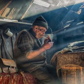 Steam by Ovidiu Marinoiu - People Portraits of Men ( shepherd, smoking, old man )
