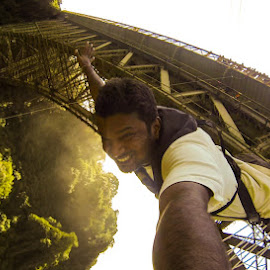 A Selfie from bunjee jumping by Ajay Viswanath - Sports & Fitness Other Sports ( selfie, adventure, bunjee, upsidedown, jump, Selfie, self shot, portrait, self portrait )