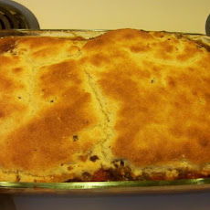 Grandmas Hamburger Pie With Cornbread Topping