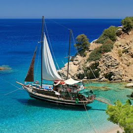 anchored in paradise by Boštjan Henigman - Landscapes Travel ( boat )