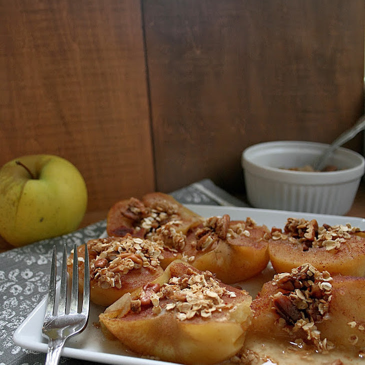 Cinnamon Sugar Baked Apples with Honey Nut Granola Recipe | Yummly
