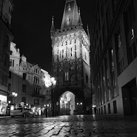 Prague At Night by Ken Susi - Buildings & Architecture Public & Historical ( prague czech republic tyn church of our lady evening night church tower clock old town square historic buildings landmarks catholic religion christianity gothic charles bridge charles bridge prague praha praga prag czech colourful illuminated sunrise long exposure shadow ghost mirage mystic fog statue glowing europe cityscape tower castle sculpture lantern architecture city light lighting landmark landscape historical beauty town old child bubble )
