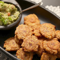 Fried Green Plantains (Patacones) With Guacamole