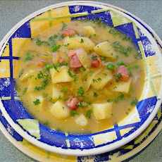 Caramelised Onion, Potato and Ham Soup