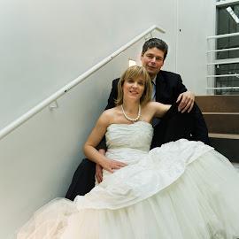 wedding of Katia and Michel by Dimitri Haeck - Wedding Bride & Groom ( stairs, wit, woman, wedding, huwelijk, white, manvrouw, trap, zwart, man, black )
