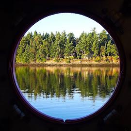 A Porthole View by Art Straw - Landscapes Beaches ( marine, cabin, porthole, coast, island )