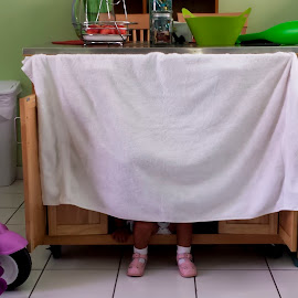 Hide and Seek by William Cortes - Babies & Children Hands & Feet ( playing, shoes, hidding, girl, towel, pink, fun, toddler )