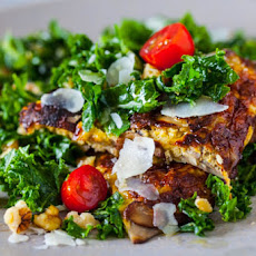 Kale Salad with Miso-Mushroom Omelet Recipe