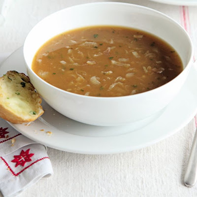 Onion Soup With Herby Garlic Cheese Bread