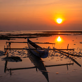 The Boat In Sunrise II by Edwin Prihartanto - Transportation Boats