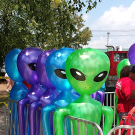 Take Us To Your Leader! by Anne Johnson - Artistic Objects Toys ( toy, inflatable, space men, roswell, alien )