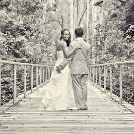 On The Bridge by Alan Evans - Wedding Bride & Groom ( wedding photography, lovers, black and white, central coast wedding photographer, aj photography, marriage, wedding, wedding day, couple, bride and groom, bridge, central coast nsw, sydney, bride groom )