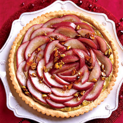 Poached Pear Tart with Caramelized Pistachios