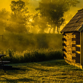 Rise and Shine by Leon Kauffman - Buildings & Architecture Other Exteriors ( cabin, fog, logs, sunrise, log cabin )