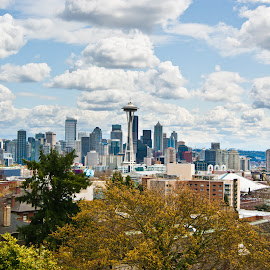 Seattle by Ryan Fabick - City,  Street & Park  Skylines ( clouds, space needle, skyline, seattle, spring )