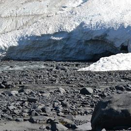 Glacier Caves by Caleb Wagner - Landscapes Caves & Formations ( glacier, ice, alaska, snow, dark )