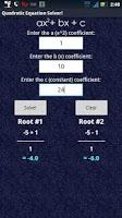 Screenshot of Quadratic Solver Exact Answer