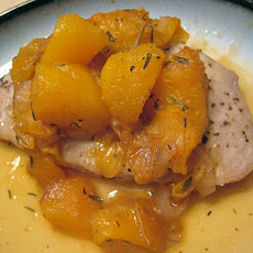 Healthy Baked Pork Chops With Drunk Peaches