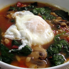 Vegetable Barley Soup with Poached Egg
