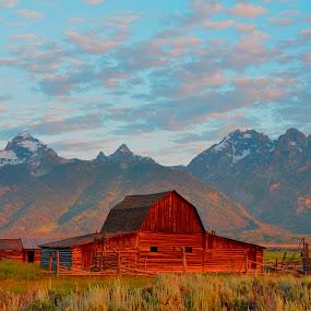 Barn on Mormon Run by Vijay Govender - Uncategorized All Uncategorized ( mountains, building, wood, wyoming, barns, jackson hole,  )