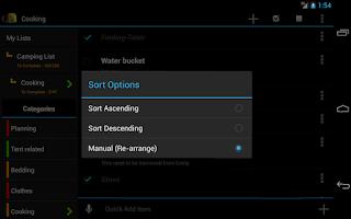 Screenshot of Camping Checklist