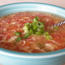 Egg Drop & Tomato With Green Chilies Soup