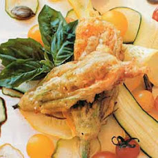 Cheese-Stuffed Squash Blossoms with Shaved Baby Squash and Toasted Pumpkin Seeds
