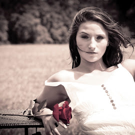 by Studio Cain - People Fine Art ( farm, field, rose, girl, white dress, sun )