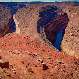 Gooseneck Pano by Fred Coleman - Landscapes Caves & Formations ( pano, mexican hat, utah, state park, gooseneck, san juan, river )