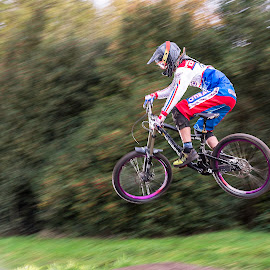 by Nick Moor - Sports & Fitness Cycling ( down hill, rider, mtb, racing, mountain bike, jump )