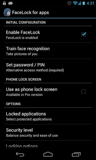 facelock-for-apps for android screenshot