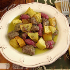 Meat And Fresh Sausage With Fried Potato