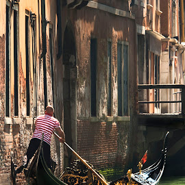 Turning the Corner by Heather Allen - Transportation Boats ( gondola, gondolier, venice, italy,  )