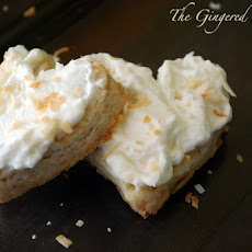 Toasted Coconut Shortbread Cookies with Pineapple Cream