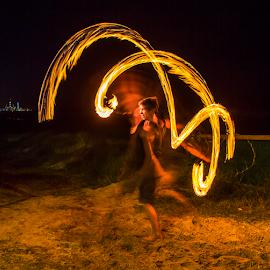 Fire Twirler by Gary Beresford - People Musicians & Entertainers ( twirler, hippy, australia, beach, dance, fire )