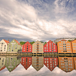 Reflection of Memories by Alireza Shakernia - Buildings & Architecture Homes ( reflection, houses, homes, reflex, river )