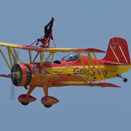 by Walter Farnham - Transportation Airplanes ( blue sky, biplane, soucy, \prop blur, wingwalker,  )