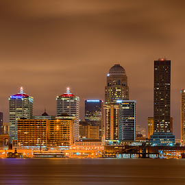 Louisville Kentucky Skyline by Eric Galey - Buildings & Architecture Office Buildings & Hotels ( hdr, louisville, long exposure, night, long, kentucky )