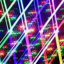 Caged stars by Jim Barton - Abstract Patterns ( laser light, colorful, light design, caged, stars, star, laser design, laser, laser light show, light, science )