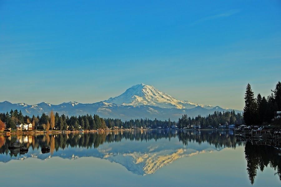 Lake Tapps by Loren Masseth - Landscapes Mountains & Hills ( reflection, volcano, mountain, mount rainier, cascades, summer, lake, recreation,  )